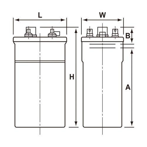 ベント据置鉛蓄電池PS(E)形(ペースト式) 寸法図