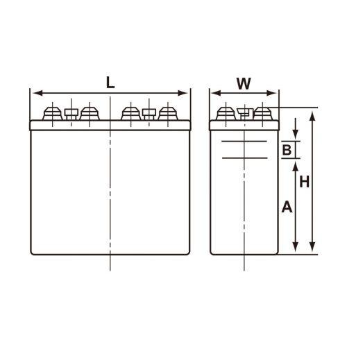 アルカリ蓄電池 寸法図