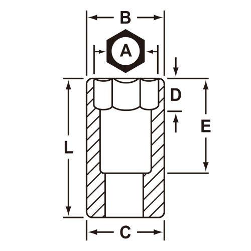 差込角3/8インチ スタンダードソケット1インチ12角 J5232の図面