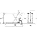ダンディリフト スチール製超低床 500kg 超低床リフト台車(フォークタイプ) F-500H 寸法図を表示する