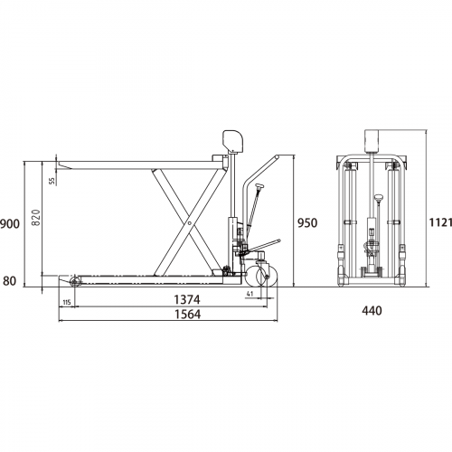ダンディリフト スチール製超低床 500kg 超低床リフト台車(フォークタイプ) F-500H 寸法図
