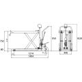 ダンディリフト スチール製超低床 500kg 超低床リフト台車(フォークタイプ) F-500L 寸法図を表示する