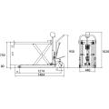 ダンディリフト スチール製超低床 500kg 超低床リフト台車(テーブルタイプ) M-500L 寸法図を表示する