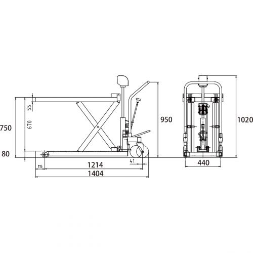 ダンディリフト スチール製超低床 500kg 超低床リフト台車(テーブルタイプ) M-500L 寸法図