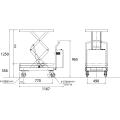 ダンディリフト 350kg 電動油圧式リフト台車 ML350WS-UD(電動走行なし) 寸法図を表示する