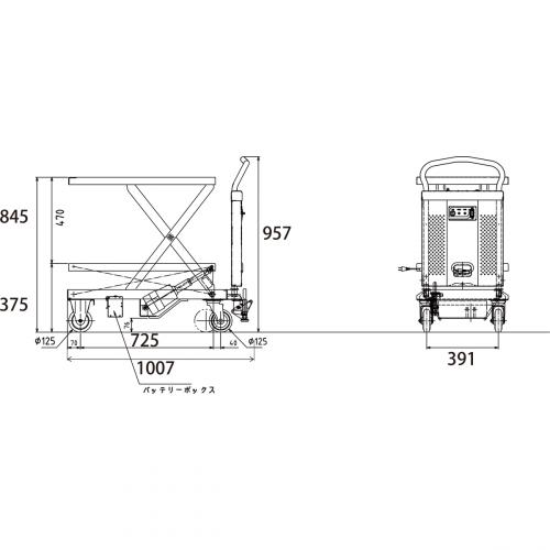 ダンディリフト 150kg 電動リニア台車 PLM-150 寸法図