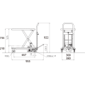 ダンディリフト ステンレス製 150kg リフト台車 SUS-150 寸法図を表示する