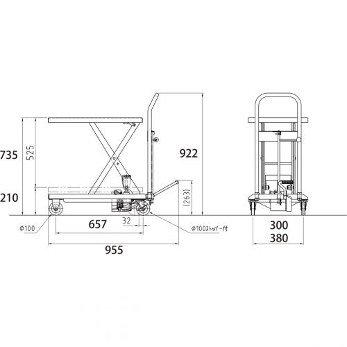 ダンディリフト ステンレス製 150kg リフト台車 SUS-150 寸法図