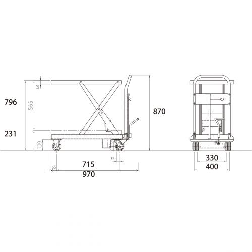 ダンディリフト ステンレス製 250kg リフト台車 SUS-250 寸法図