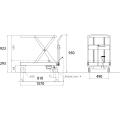 ダンディリフト ステンレス製 500kg リフト台車 SUS-500 寸法図を表示する