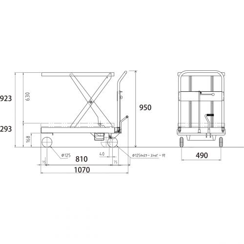 ダンディリフト ステンレス製 500kg リフト台車 SUS-500 寸法図