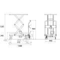 ダンディリフト スチール製 350kg リフト台車(Wシザー) UDA-350W 寸法図を表示する