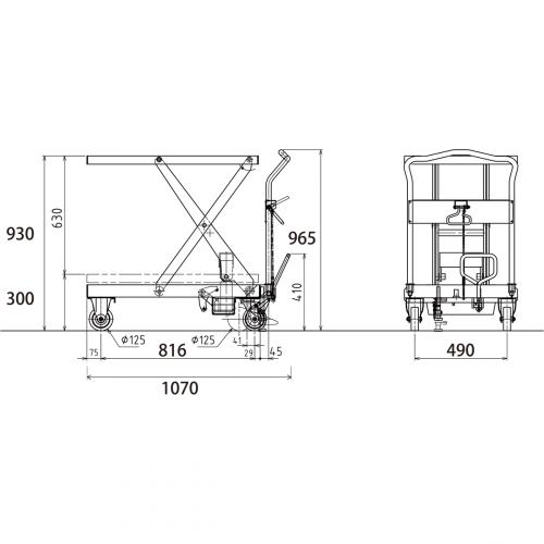 ダンディリフト スチール製 500kg リフト台車 UDA-500 寸法図
