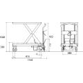 ダンディリフト スチール製 800kg リフト台車 UDA-800 寸法図を表示する