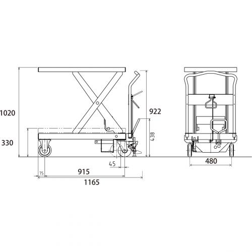 ダンディリフト スチール製 800kg リフト台車 UDA-800 寸法図