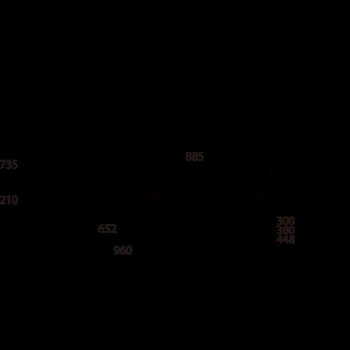ダンディリフト スチール製 150kg リフト台車 UDL-150 寸法図
