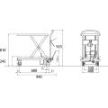 ダンディリフト スチール製 250kg リフト台車 UDL-250 寸法図を表示する