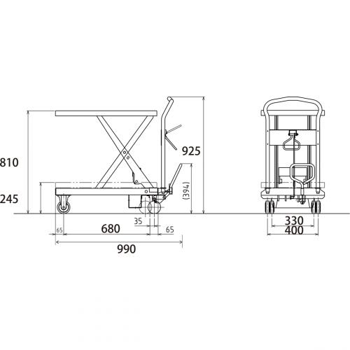 ダンディリフト スチール製 250kg リフト台車 UDL-250 寸法図